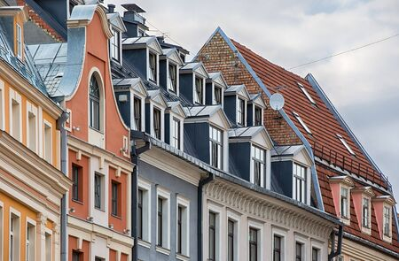 riga: Old town buildings in the baltic city of Riga, Latvia.