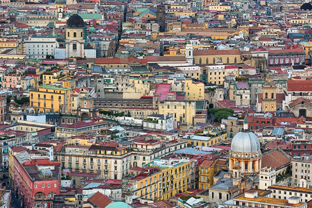Aerial view of the city of Naples in Italy.