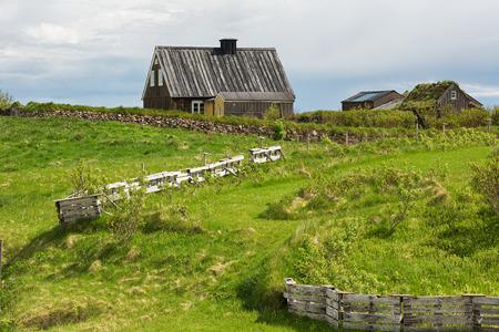 abandoned farmhouse abandoned farmhouse: Landscape with abandoned farmhouse in Iceland.