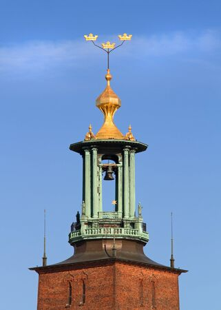 cityhall: Tower on Stockholm city-hall, Stadshuset with golden crowns.