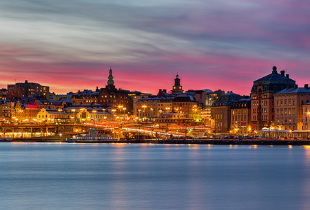 pink sunset: Stockholm city night image with beautuful pink sunset.