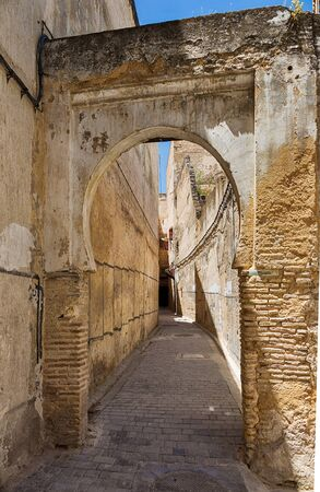 fes: Alley with arch in Fes medina in Morocco.
