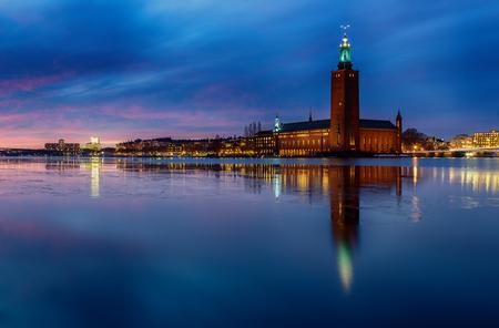 cityhall: Stadshuset, Stockholm city-hall where the nobel festivities takes place. Stock Photo