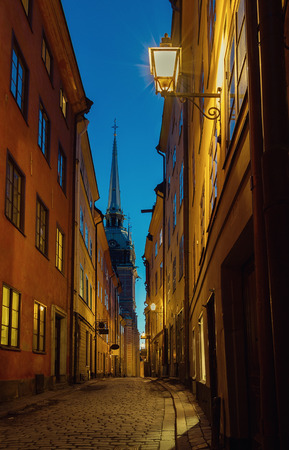 gamla stan: Narrow alley in Stockholm Gamla stan at night.
