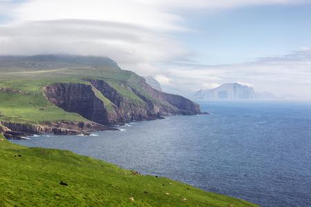atlantic ocean: Faroe islands and Atlantic ocean in summer.