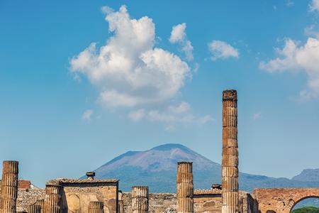 Ruins in the city Pompeii and Mount Vesuvius.