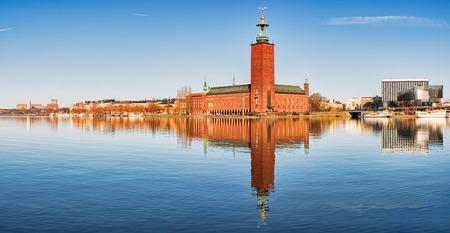 cityhall: Panoramic image of Stadshuset, Stockholm city-hall.