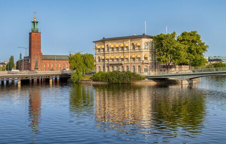 Stockholm city-hall and Stromsborg, famous landmarks in Stockholm.