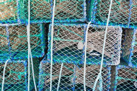 lobster pot: Fishing equipment for catching lobsters. Stock Photo