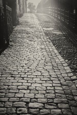 atmospheric: Atmospheric cobblestone street in morning ligt, black and white image.