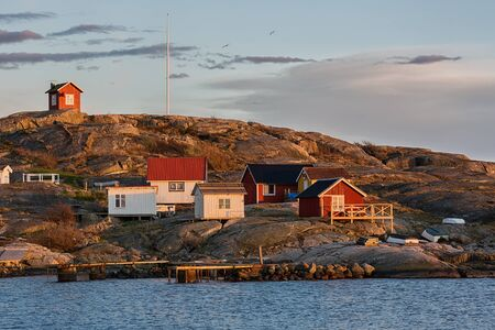 archipelago: Typical Swedish fishing-village in the archipelago. Stock Photo