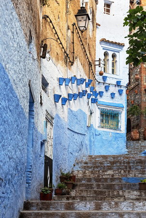 medina: Decorated buildings in the medina of Chefchaouen in Morocco. Stock Photo