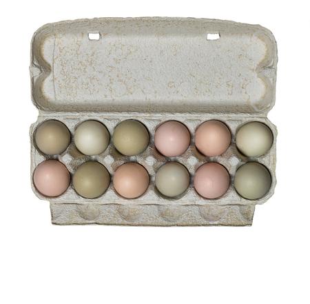 gamme de produit: Egg carton with fresh organic eggs, isolated image. Banque d'images