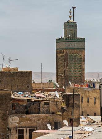 fez: Minaret in the city of Fez, Morocco.