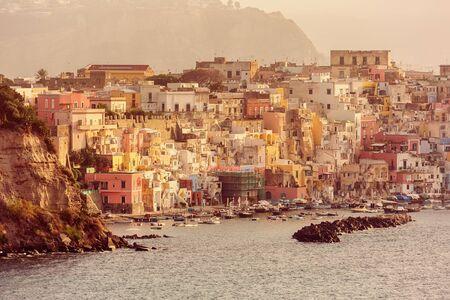 Beautiful Italian island Procida at sunrise.