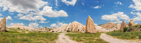 Panoramic image of rocky landscape in Cappadocia, Turkey.