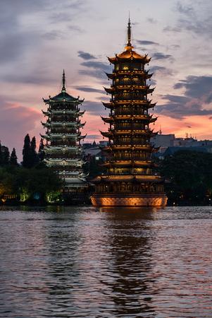 Sun and moon pagoda in Guilin city, China.