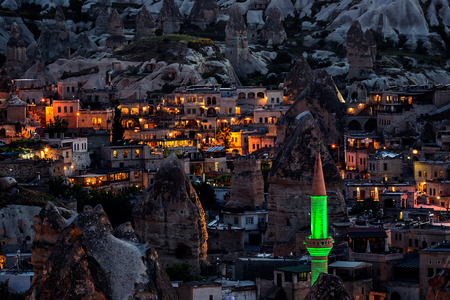 Night image from Cappadocia, Goreme town famous for the rock formations called fairy chimneys.