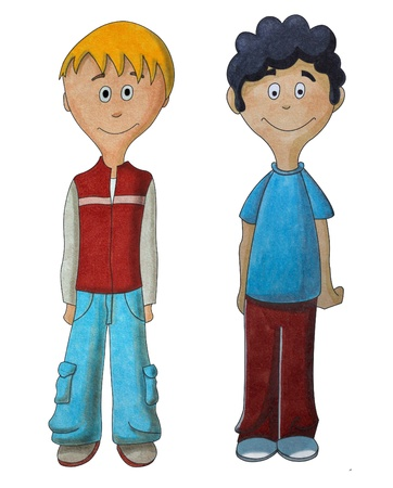 Two boys on white background photo