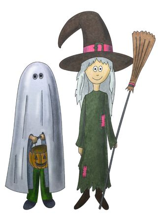 Boy dressed as a ghost and girl dressed as a witch for Halloween Stock Photo - 15750484