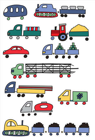 Set of beautiful coloured transport Vector