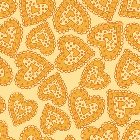 Beautiful seamless yellow pattern with nice hearts  Vector