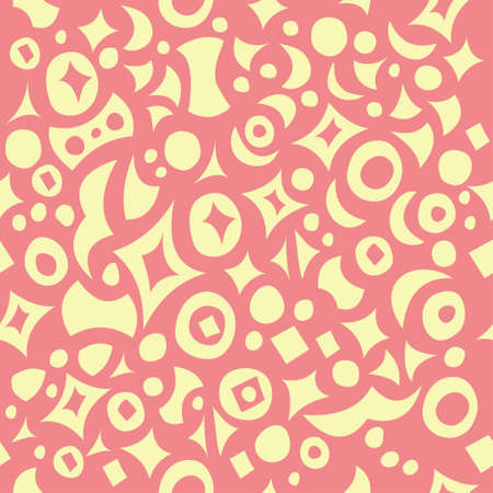 Beautiful seamless yellow-pink pattern with fun figures  Vector