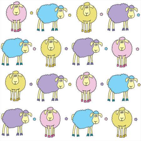 animalitos tiernos: Fondo incons�til con las ovejas de colores diversi�n Vectores
