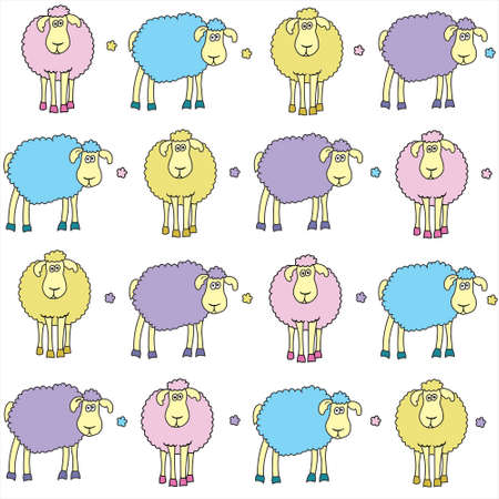 Seamless background with fun coloured sheep  Vector