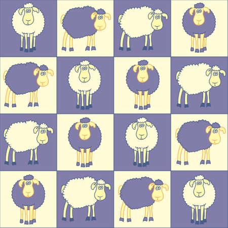 zauberhaft: Nahtlose Hintergrund mit lustigen violetten Schafen
