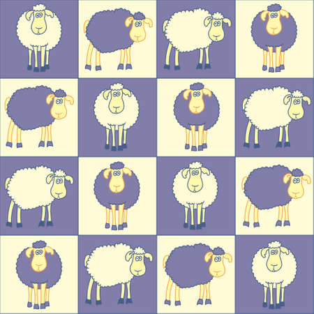 Seamless background with fun violet sheep  Vector