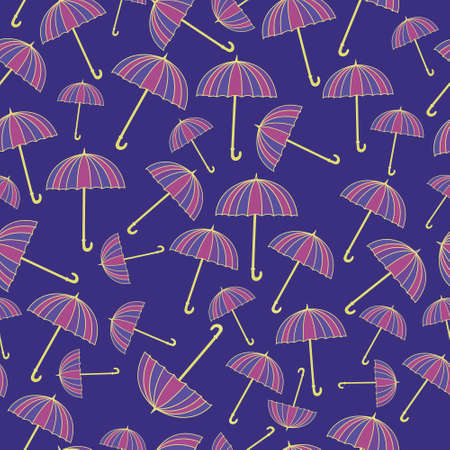 vinous: Seamless pattern with umbrellas on blue background Illustration