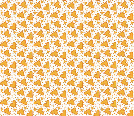 Seamless pattern with yellow hearts Vector
