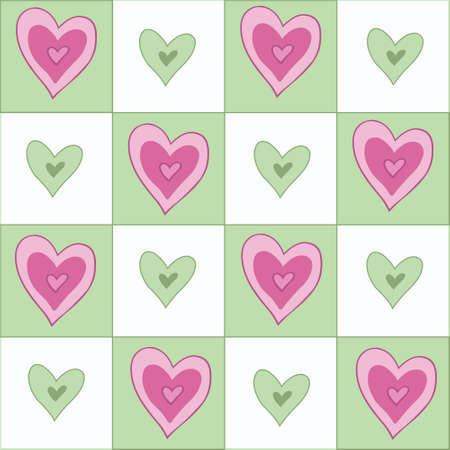 beguin: Seamless background with fun hearts