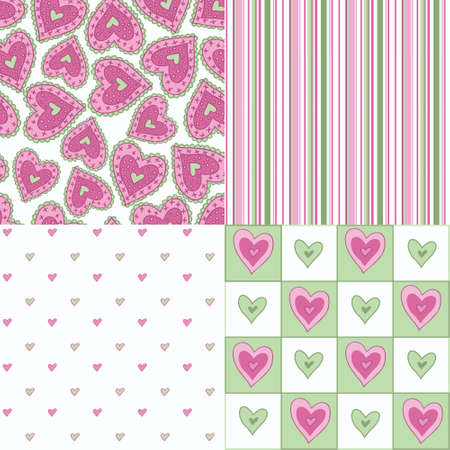 beguin: Set of four fun seamless patterns