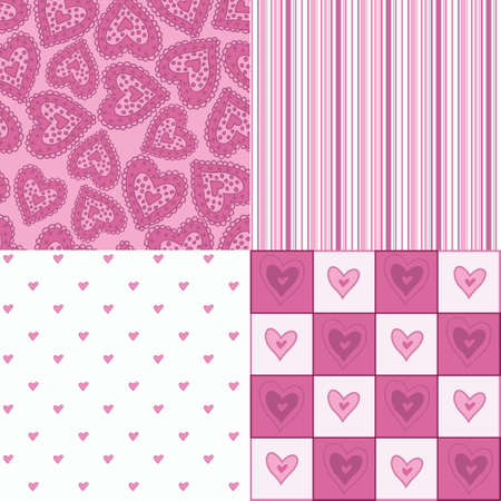 beguin: Set of seamless pink patterns with hearts  Illustration