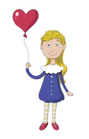 Girl with balloon in the shape of heart Vector