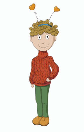 Boy in sweater isolated on white background Vector