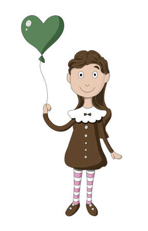 Girl with balloon in the shape heart Vector