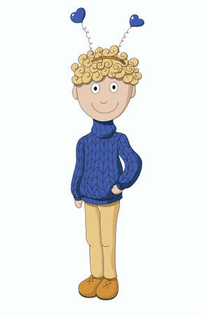 Boy in a sweater isolated on white background Vector