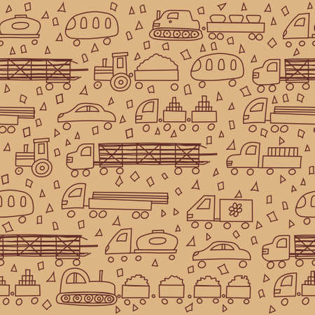 autotruck: Seamless pattern with fun different transport Illustration