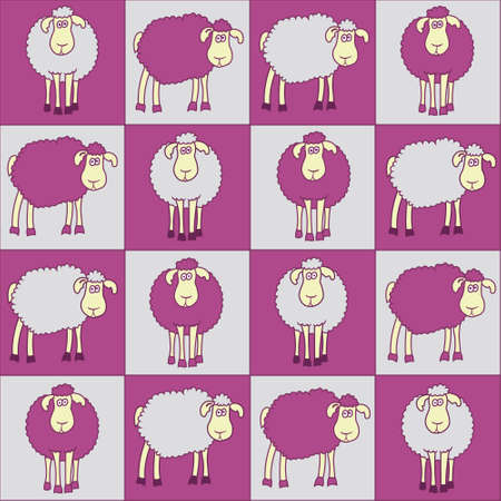 bleating: Seamless background with fun magenta sheep