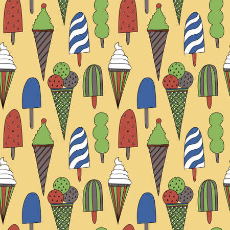 Seamless pattern with colored ice cream Vector