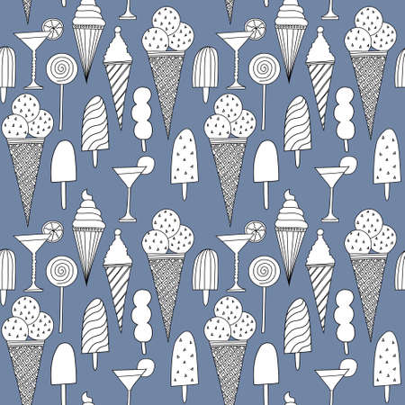 Seamless beautiful pattern with ice cream Vector
