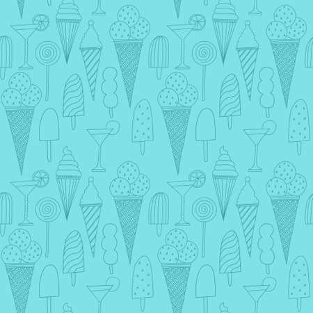 Seamless blue pattern with ice cream Vector