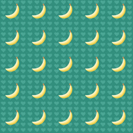 Seamless pattern with bananas and hearts Vector