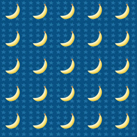 Seamless pattern with bananas and stars Vector