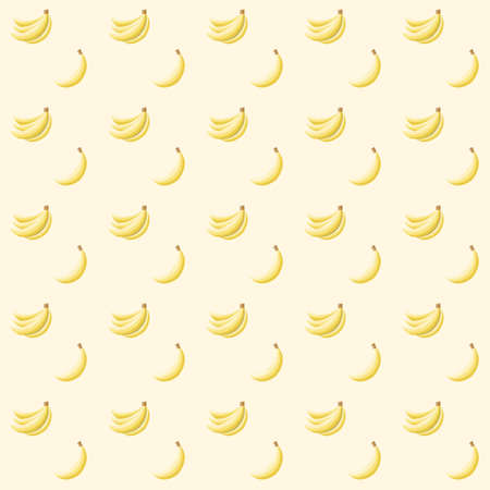 Seamless abstract pattern with bananas on light yellow background Vector