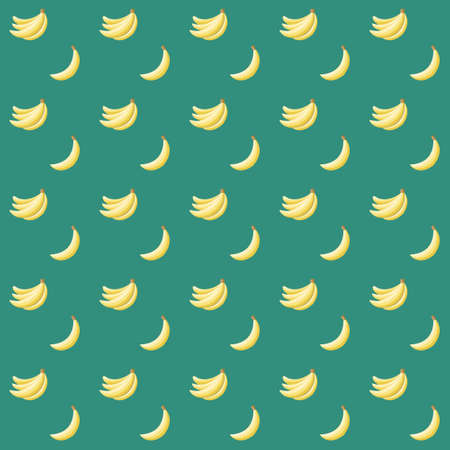 Seamless abstract pattern with bananas on green background Vector