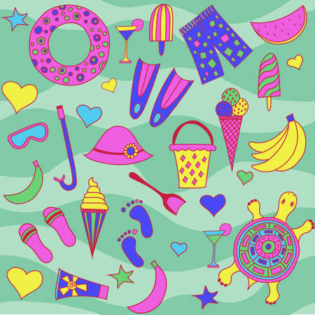 is interesting: Interesting seamless pattern with beach Illustration